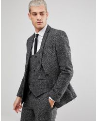 ASOS - Asos Slim Suit Jacket In Moons Wool Rich Monochrome Check - Lyst