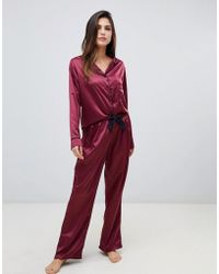Bluebella - Claudia Long Shirt And Pants Pyjama Set In Red - Lyst