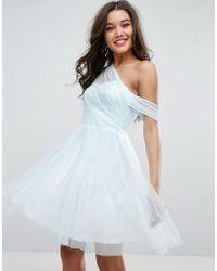 ASOS - Asos Dobby Mesh One Shoulder Mini Prom Dress - Lyst