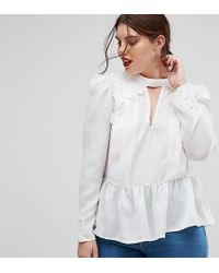 ASOS | Plunge Victoriana Blouse With Cotton Lace Detail | Lyst