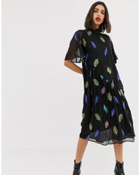 Lost Ink - Maxi Tea Dress With High Neck With Embroidered Feather Detail - Lyst