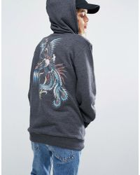 RVCA - Oversized Boyfriend Hoodie With Phoenix Back Graphic - Lyst