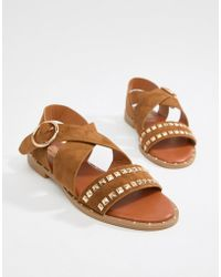 Truffle Collection - Studded Flat Sandals - Lyst