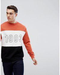 Stradivarius - Colour Block Sweatshirt With 1993 Print In Orange - Lyst