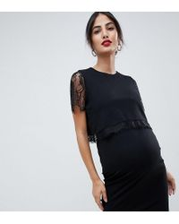 ASOS - Asos Design Maternity Nursing Double Layer Bodycon Dress With Lace Trim - Lyst