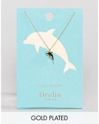 Orelia - Gold Plated Dolphin Pendant Necklace - Lyst
