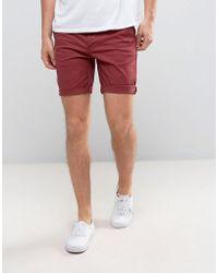 ASOS - Slim Chino Shorts In Berry - Lyst