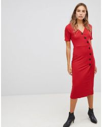 New Look - Rib Button Through Dress - Lyst