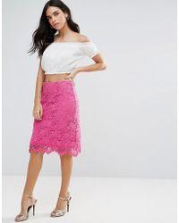 Liquorish - Lace Pencil Skirt - Lyst