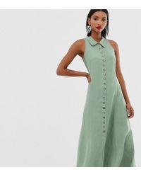 Mango - Vestido sin mangas verde con botones de - Lyst