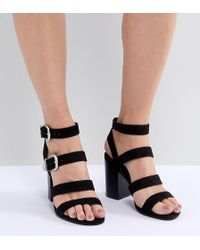 0e220beb378 Lyst - Missguided Black Open Back Western Block Heel Sandals in Black