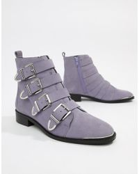 Office - Archive Four Buckle Lilac Suede Ankle Boots - Lyst