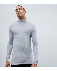 ASOS - Tall Muscle Fit Long Sleeve T-shirt With Roll Neck In Grey - Lyst