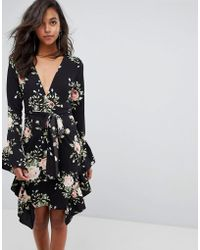 PrettyLittleThing - Floral Frill Detail Wrap Dress - Lyst