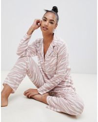 ASOS - Animal Traditional Pyjama Set In 100% Modal - Lyst