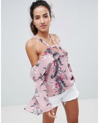 Glamorous - Off Shoulder Top With Ruffle Layer In Palm Floral - Lyst
