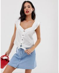 Oasis - Shirt With Tie Front In White - Lyst