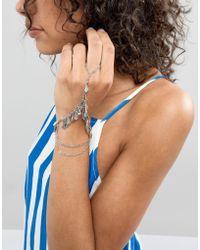 ASOS - Design Diamond Pendant Hand Chain - Lyst