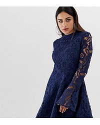4a2777a27cd PrettyLittleThing - Exclusive Lace Fluted Sleeve Skater Dress In Navy - Lyst