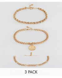 ASOS - Vintage Style 3 Pack Chain Bracelets With St Christopher Coin - Lyst