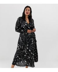 ASOS - Asos Design Curve Wrap Maxi Dress In Star And Lightening Bolt - Lyst