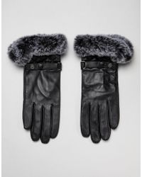 Barneys Originals - Real Leather Gloves With Quilting And Faux Fur Trim - Lyst