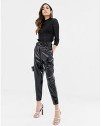 ASOS - High Waisted Vinyl Tapered Trousers - Lyst
