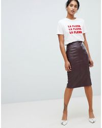 Oasis - Faux Leather Pencil Skirt In Burgundy - Lyst