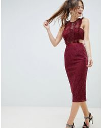 ASOS DESIGN - Lace Pencil Midi Dress With Frill Pinny Bodice - Lyst