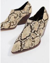 Mango - Cuban Heel Ankle Boot In Snake Effect - Lyst
