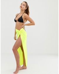 ASOS - Knot Front Glam Beach Sarong In Neon Jersey Slinky - Lyst