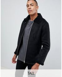 Barneys Originals - Barneys Originals Tall Suedette Fleece Collar Jacker - Lyst