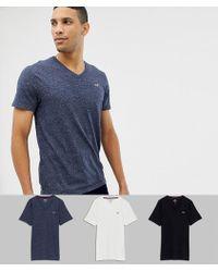 Hollister - 3 Pack V-neck T-shirt Seagull Logo Slim Fit In Black/grey/navy - Lyst