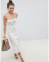ASOS - Design Bandeau Bow Front Midi Sundress In Polka Dot - Lyst