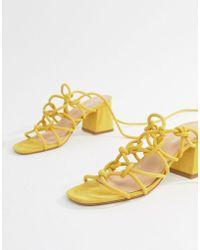 Public Desire - Freya Yellow Mid Block Heeled Sandals - Lyst