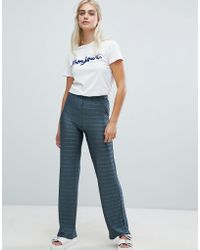 Pieces - Metallic Stripe Wide Leg Trouser - Lyst