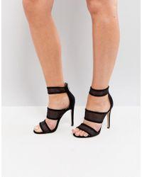 Public Desire - Black Mesh Caged Heeled Sandals - Lyst