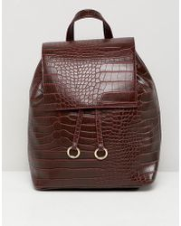 ASOS - Backpack With Ring toggle Detail In Croc - Lyst
