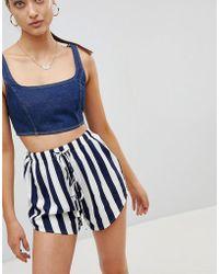 PrettyLittleThing - Stripe Tie Waist Shorts - Lyst