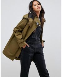 ASOS | Parka With Funnel Neck And Buckles | Lyst