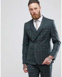 ASOS - Asos Skinny Double Breasted Suit Jacket In Khaki Country Check - Lyst