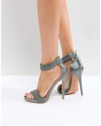 Lost Ink - Grey Ruched Heeled Sandals - Lyst