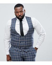 ASOS - Plus Wedding Skinny Suit Vest In Blue And White Check - Lyst
