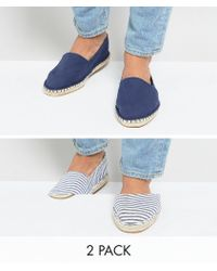 ASOS - Canvas Espadrilles In Navy And Blue Stripe 2 Pack Save - Lyst