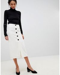 ASOS - Midi Skirt With Contrast Buttons - Lyst