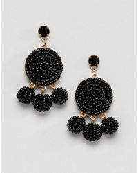 ASOS - Design Beaded Disc And Ball Drop Earrings - Lyst