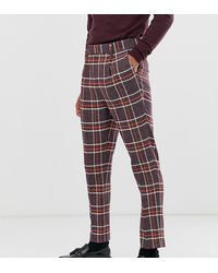 ASOS - Tall Skinny Smart Trousers In Wool Mix Check In Purple - Lyst