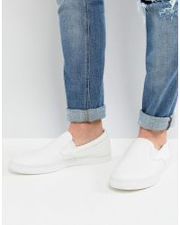 Fred Perry - Underspin Slip On Leather Trainers In White - Lyst