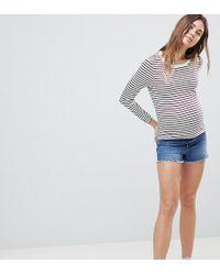 ASOS - Asos Design Maternity Denim Alvey Short With Raw Hem In Vintage Blue - Lyst