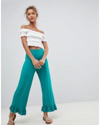 ASOS - Design Trousers With Fluted Ruffle Hem - Lyst